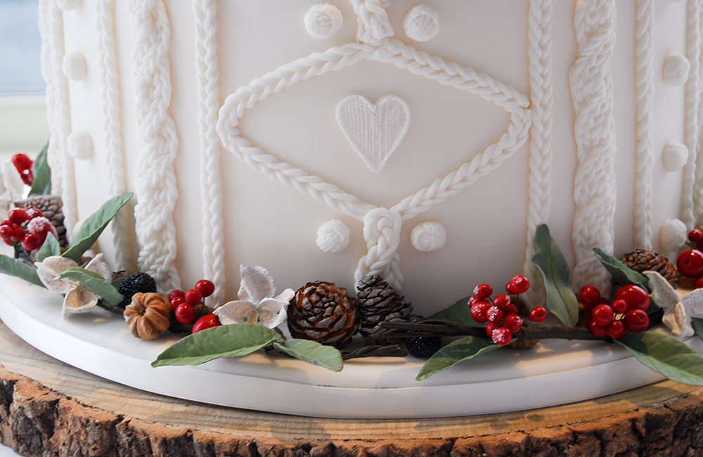 Winter Wedding Cake using Berries and Dry Florals