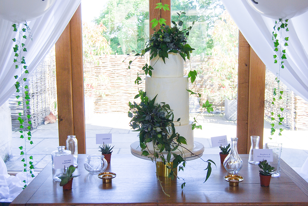 Example of Cake Table dressing at the Barn at Upcote